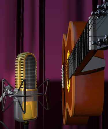 the resonator: Acoustic six-string guitar and microphone on a curtain background (3d illustration).