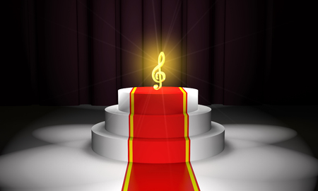 Golden treble clef on the podium with a red carpet on curtain background (3d illustration)