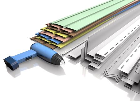 Panel siding, plastic profiles and electric screwdriver on a white background (3d illustration).