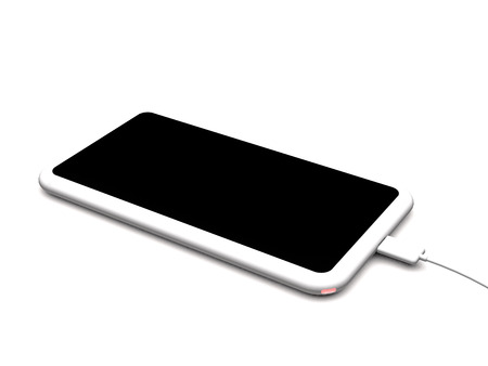 Modern wireless charger for smartphones and tablet PC on white background (3d illustration). Stock Photo