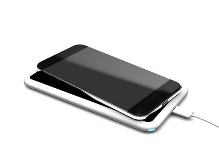 Modern wireless charger and phone on white background (3d illustration). Stock Photo