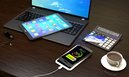 Laptop, Tablet PC, smart phone with wireless charger, cup of coffee at the office workplace (3d illustration).