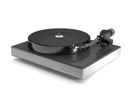 Vinyl turntable on white background (3d illustration).