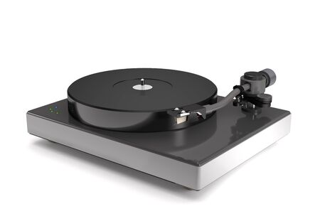 Vinyl turntable on white background (3d illustration).