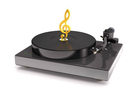 Vinyl turntable with gold treble clef on white background (3d illustration). Stock Photo