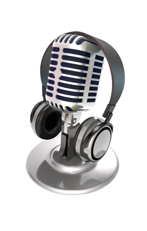 Microphone and headphone on white background (3d illustration).