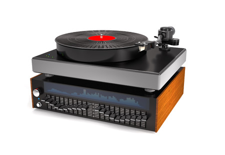 Sound equalizer, turntable, vinyl record on white background (3d illustration). Stock Photo