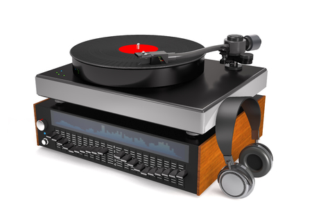 Sound equalizer, turntable, vinyl record and headphones on white background (3d illustration).