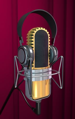 Microphone and headphone on curtaun background (3d illustration).