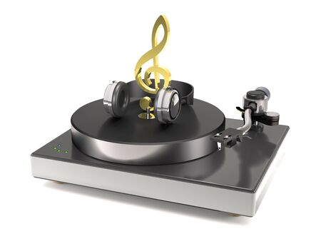 Vinyl turntable with gold treble clef and headphones on white background (3d illustration). Stock Photo