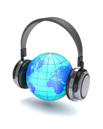 Headphones and globe on white background (3d illustration). Stock Photo