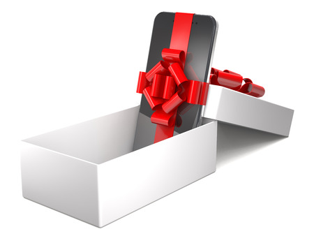 Gift mobile phone in box on white background (3d illustration). Stock Photo