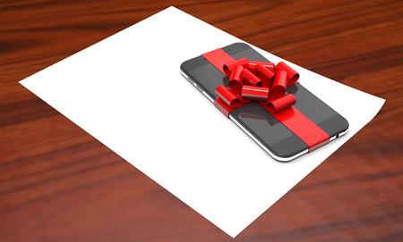 Gift mobile phone on paper on wooden background (3d illustration).