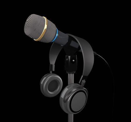 Microphone and  headphones on dark background (3d illustration) Stock Photo