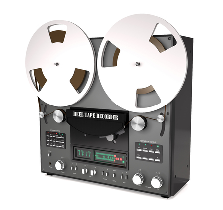Vintage reel tape recorder on white background (3d illustration) Stock Photo