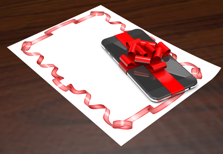 Gift mobile phone on paper with red ribbon on wooden background (3d illustration). Stock Photo