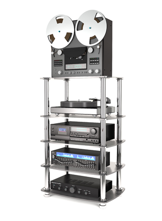 Rack with sound radio equipment on white background (3d illustration) Stock Photo