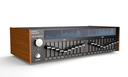 Sound octave equalizer with analyzer on white background (3d illustration) Stock Photo