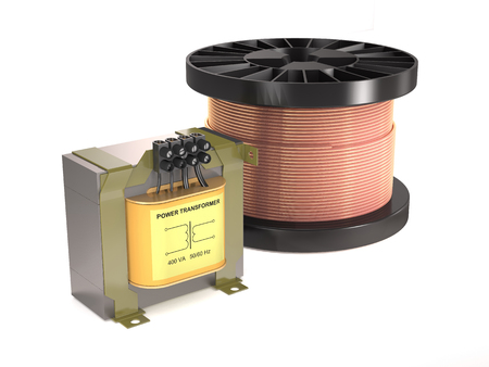 Electrical transformer, coil, wire on white background.