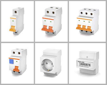 Circuit breakers, socket and electric meter are on a white background. Stock Photo