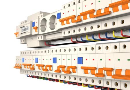 Circuit breakers, socket en elektrische meter zijn op een witte achtergrond (3d illustratie). Stockfoto