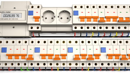 Circuit breakers, socket and electric meter are on a white background (3d illustration). Stock Photo