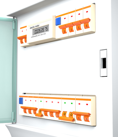 Circuit breakers, socket and electric meter are in electric box on a white background (3d illustration). Stok Fotoğraf - 80381361