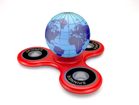Modern toy spinner and earth globe on white background (3d illustration). Stock Photo