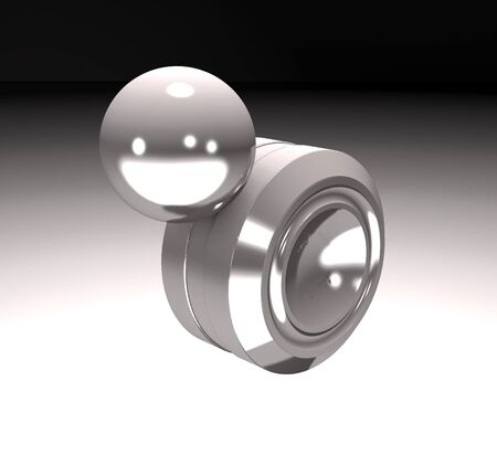 Modern anti-stress magnet toy orbit (3d illustration) Stock Photo