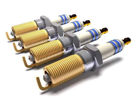 Car spark plugs on white background (3d illustration).