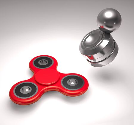 Modern anti-stress magnet toy orbiter and roller toy spinner (3d illustration)