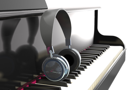 Modern headphone on the classic piano keyboard (3d illustration).
