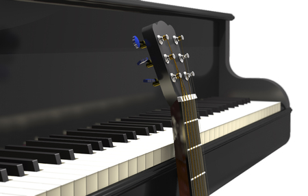 Acoustic guitar and classical grand piano on white background (3d illustration).