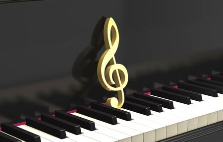 Golden treble clef on the classical piano keyboard (3d illustration).