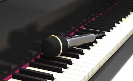 Modern studio microphone on the classical piano keyboard (3d illustration).