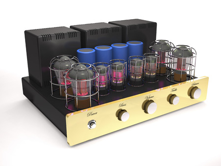 Vintage tube amplifier with glowing valves on white background (3d illustration). Banque d'images