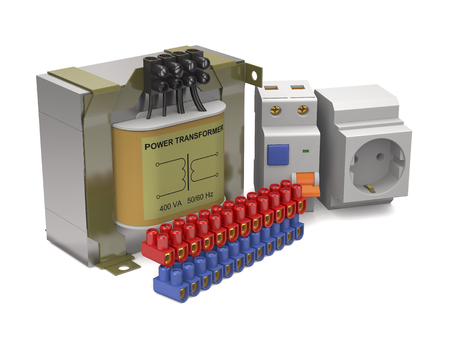 Components of the power circuit on white background (3d illustration).