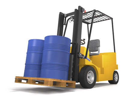 Forklift for an industrial warehouse with a pallet and barrels on white background (3d illustration).