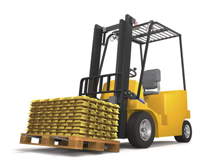 Forklift for an industrial warehouse with a pallet and gold bars on white background (3d illustration).