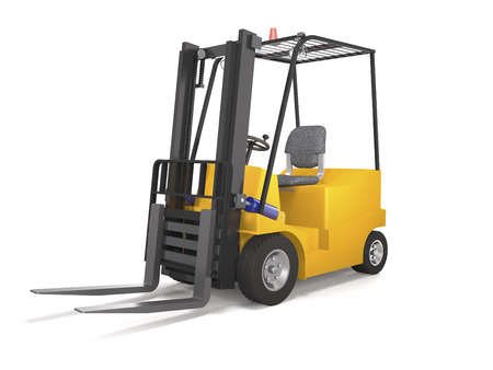 Forklift truck for industrial warehouse on white background (3d illustration).