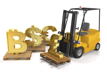 Forklift truck and currency signs on pallets on white background (3d illustration).