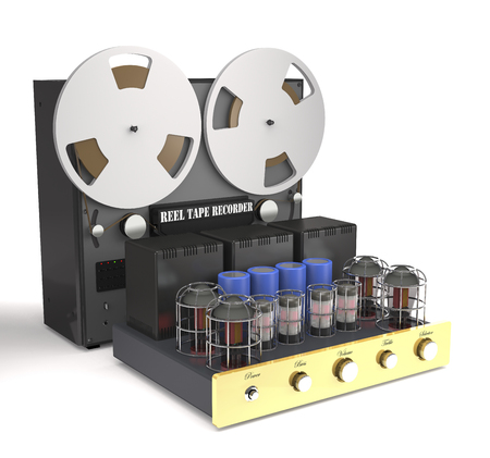 Vintage tube amplifier and reel tape recorder on white background (3d illustration).