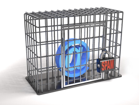 Email is a prisoner of spam  as a security concept (3d illustration).