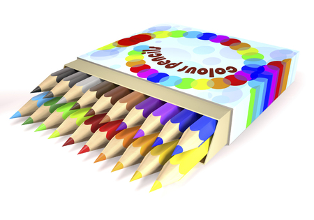 Childrens color pencils in box on white background (3d illustration).