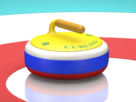 Tricolor stone with a handle for curling on sport ice (3d illustration). Stock Photo