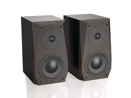 Dark wooden sound speakers on white background (3d illustration). Archivio Fotografico