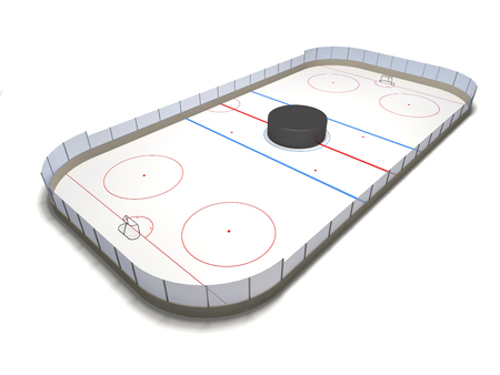Ice hockey ground and puck on white background (3d illustration).