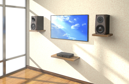 Sound amplifier, loudspeakers and TV on shlves in the room (3d illustration). Stock Photo