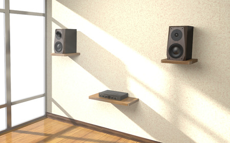 Sound amplifier and loudspeakers on shlves in the room (3d illustration).