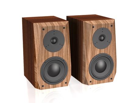Sound speakers on white background (3d illustration).